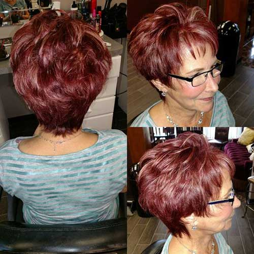 Dark-Red-Pixie-for-Older-Ladies Amazing Short Haircuts for Older Women