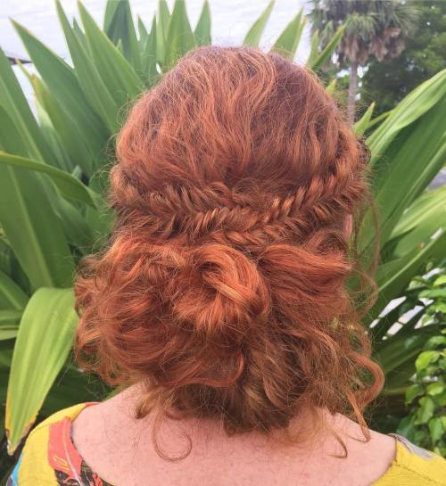 Fishtail-Side-Braids-with-Loose-Bun 10 Eye-catching Braids for Curly Hair of Different Types