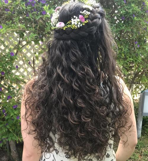 Flower-Girl's-Crown-French-Braids 10 Eye-catching Braids for Curly Hair of Different Types