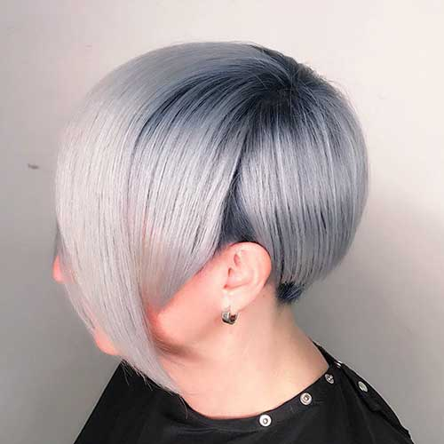Grey-Colored-Short-Hair Super Short Haircuts for Women