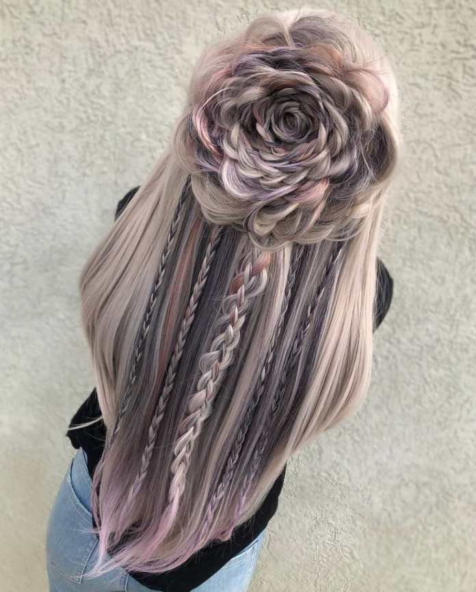 Light-Pink-Flower-Braided-Hair Long Braided Hairstyles to Look Beautiful as Never Before