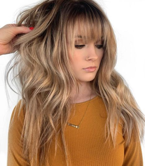 Long-Choppy-Shag-with-Bangs 12 Flattering Haircuts for Long Hair with Bangs