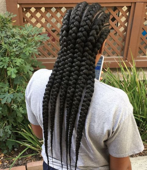 Long-Chunky-Black-Braids 12 Stunning Black Braided Hairstyles 2020
