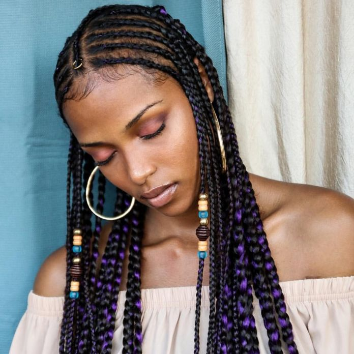 Long-Thin-Braids-with-Violet-Highlights Natural Hair Braids to Enhance Your Beauty