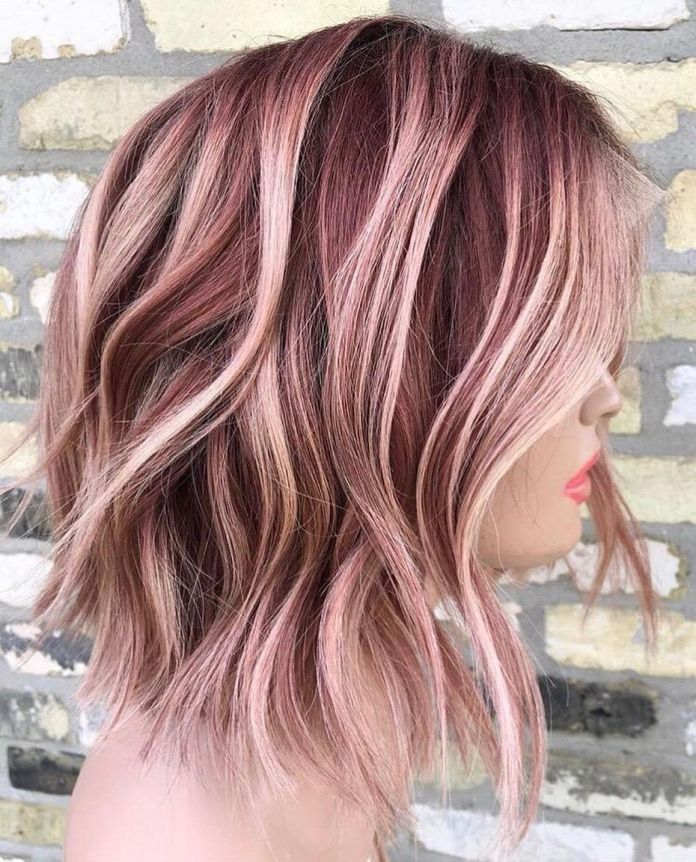 Medium-Length-Hair-with-Pink-Highlights Most Coolest Medium Hairstyles with Color