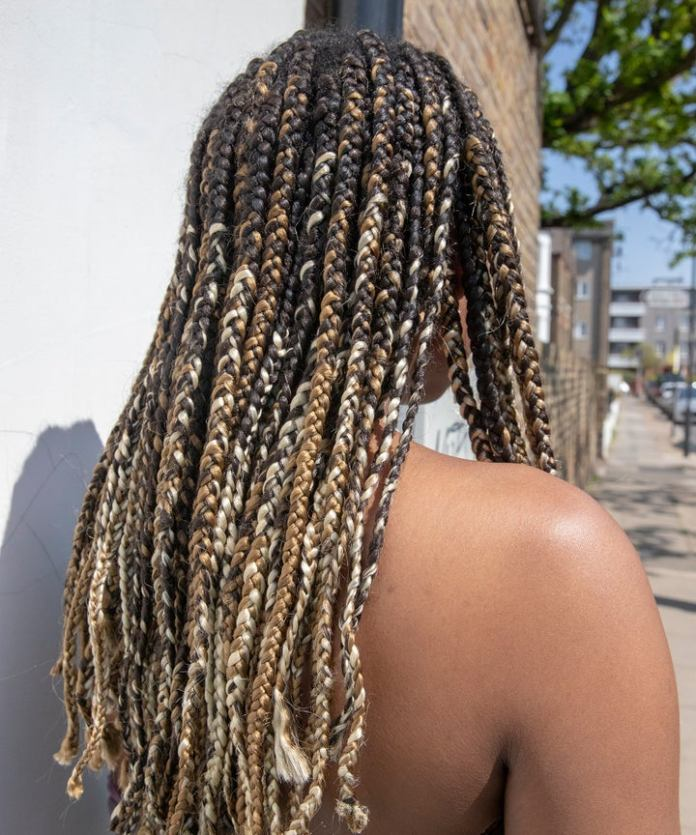 Mid-Length-Hair-with-Golden-and-Silver-Blonde-Highlights Natural Hair Braids to Enhance Your Beauty
