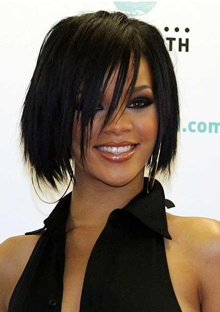 Rihanna's-Dark-Straight-Layered-Bob Gorgeous Layered Cut Bob Hairstyles