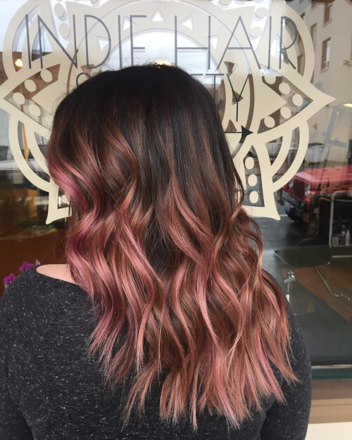 Rose-gold-and-brown-balayage Best rose gold hair color ideas