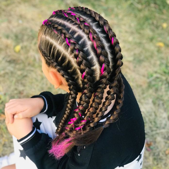 Side-Braided-Hairstyle-with-Pink-Highlights Braids Hairstyles 2020 for Ultra Stylish Looks