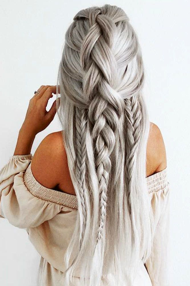 Silver-Braided-Hair Long Braided Hairstyles to Look Beautiful as Never Before