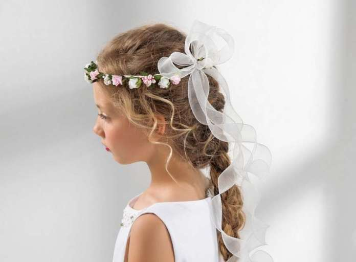 Simple-Braid-with-Satin-Bow-Hairstyle Most Cutest Flower Girl Hairstyles