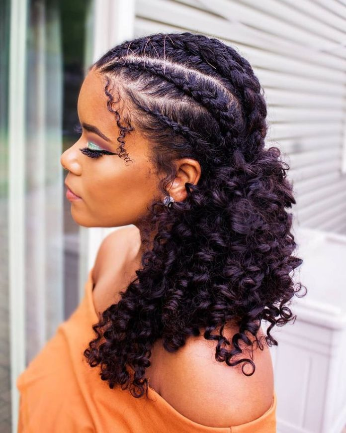 Simple-Braids-Hairstyle-for-Curly-Hair Natural Hair Braids to Enhance Your Beauty