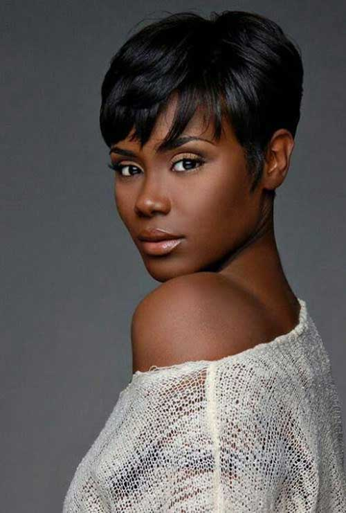 Unusual-Short-Hairstyle-for-Black-Women-with-Bangs Naturally Short Hairstyles for Beautiful Black Women