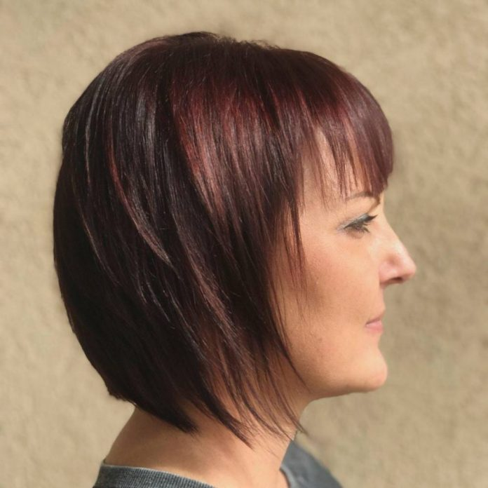 a-line-bob-with-wispy-fringe 10 youthful and stylish short hairstyles for women over 40