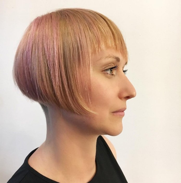 diagonal-fringe-and-disconnected-undercut 10 youthful and stylish short hairstyles for women over 40