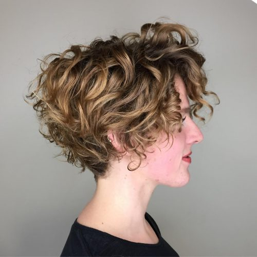 fresh-curly-stacked-bob 14 flattering and eye-catching hairstyles for short curly hair