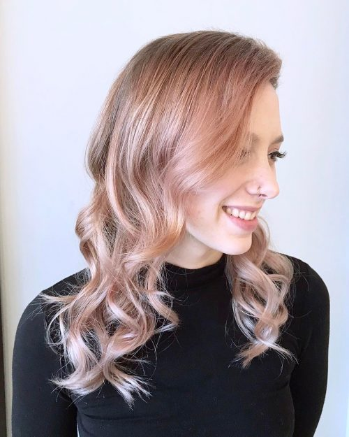 metallic-rose-gold-hair-color Best rose gold hair color ideas