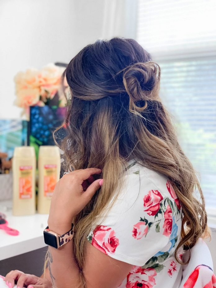 A-Messy-Bun-with-Half-Down-Hair Messy Bun Hairstyle is the New Style to Enhance Your Look
