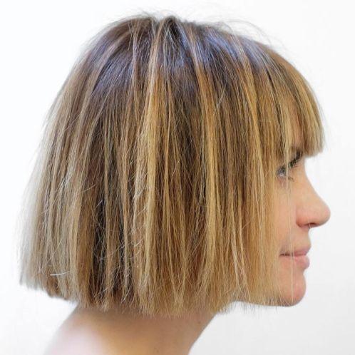 Blunt-Cut-Balayage-Bob 14 Trendy Balayage Short Hairstyles