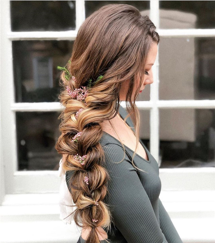 Braid-with-Blooming-Flowers 25 Prom Hairstyles 2020 for an Exquisite Look