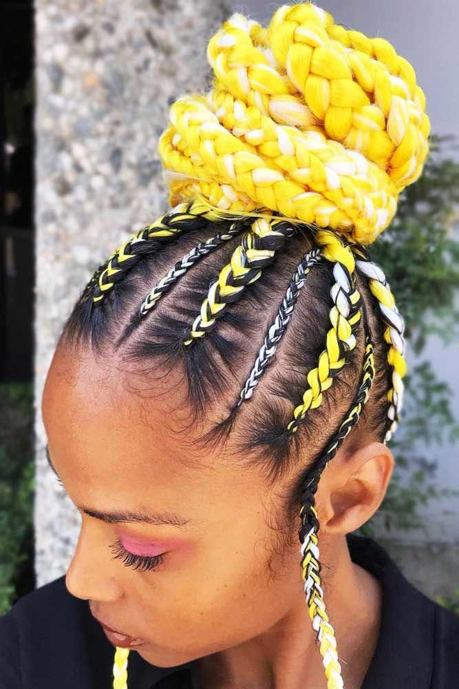 Cornrow-with-Yellow-and-White-Wool-Updo 25 Black Braided Hairstyles for Voguish Look