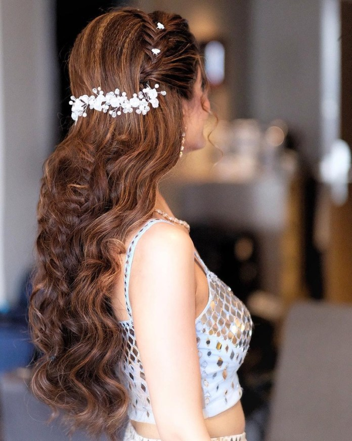 Crimped-Heavy-Curls 21 Bridal Hairstyles 2020 for an Elegant Look