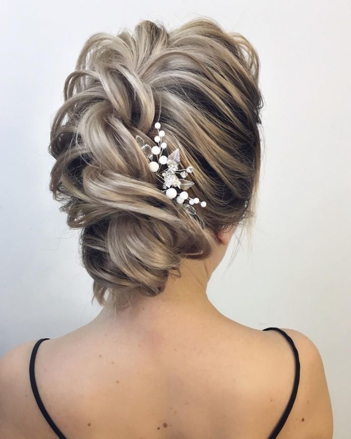 Cross-Sectioned-Braided-Top-Bun 21 Bridal Hairstyles 2020 for an Elegant Look