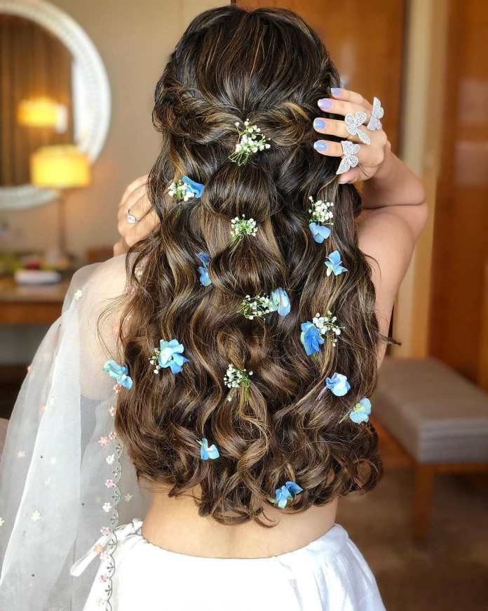 French-Waterfall-with-a-Touch-of-Nature 21 Bridal Hairstyles 2020 for an Elegant Look