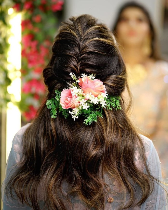 Half-Tied-Braided-Hair 21 Bridal Hairstyles 2020 for an Elegant Look