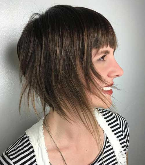 Layered-Bob-with-Bangs Best Short Layered Haircuts for Women