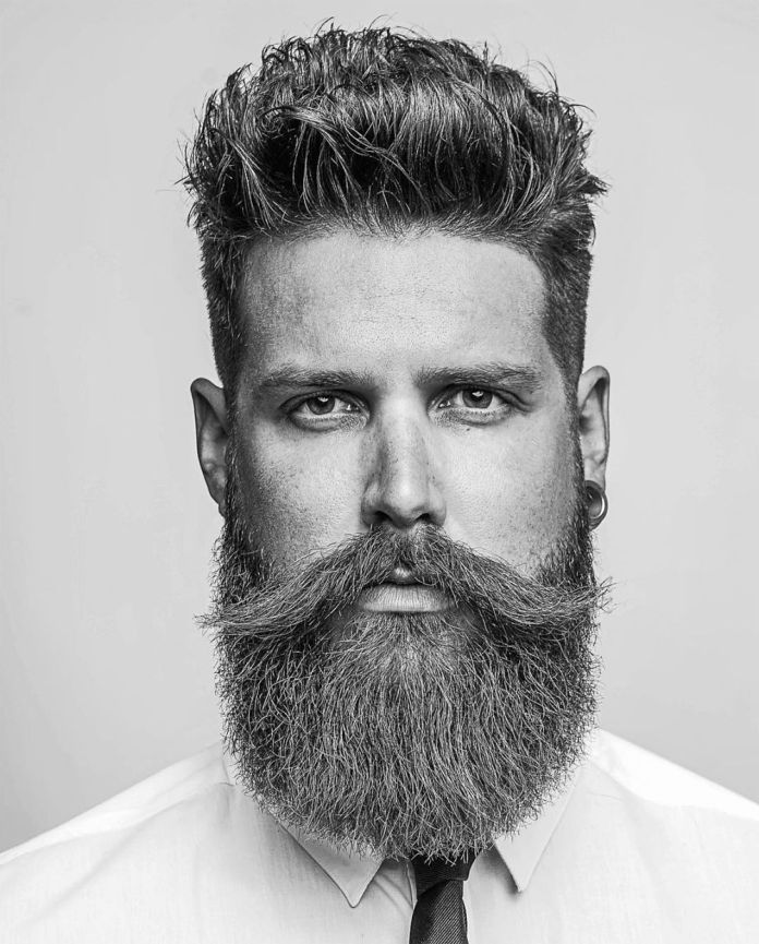 Medium-Length-Quiff-with-Beard-and-Mustache 25 Quiff Hairstyles for Ultra Modern Look