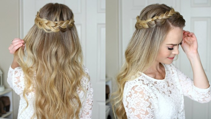 Pretty-Half-Updo-Style 21 Halo Braids to Uplift Your Overall Appearance