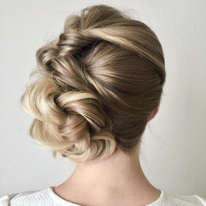 Side-Swap-French-Bun 25 Prom Hairstyles 2020 for an Exquisite Look
