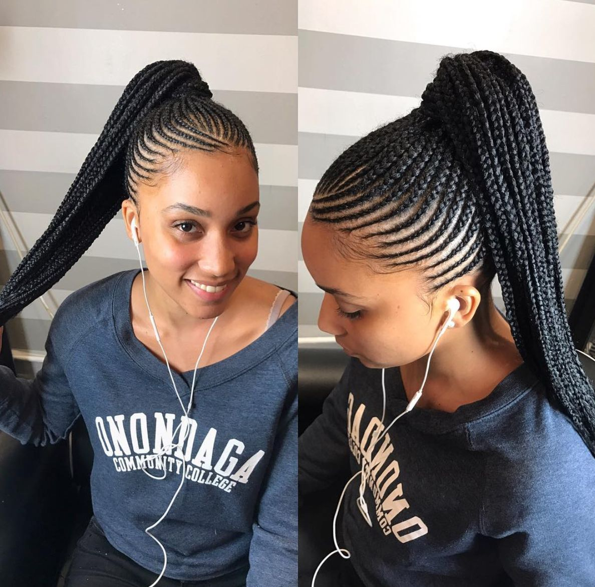 Thick-Cornrow-Updo 25 Black Braided Hairstyles for Voguish Look