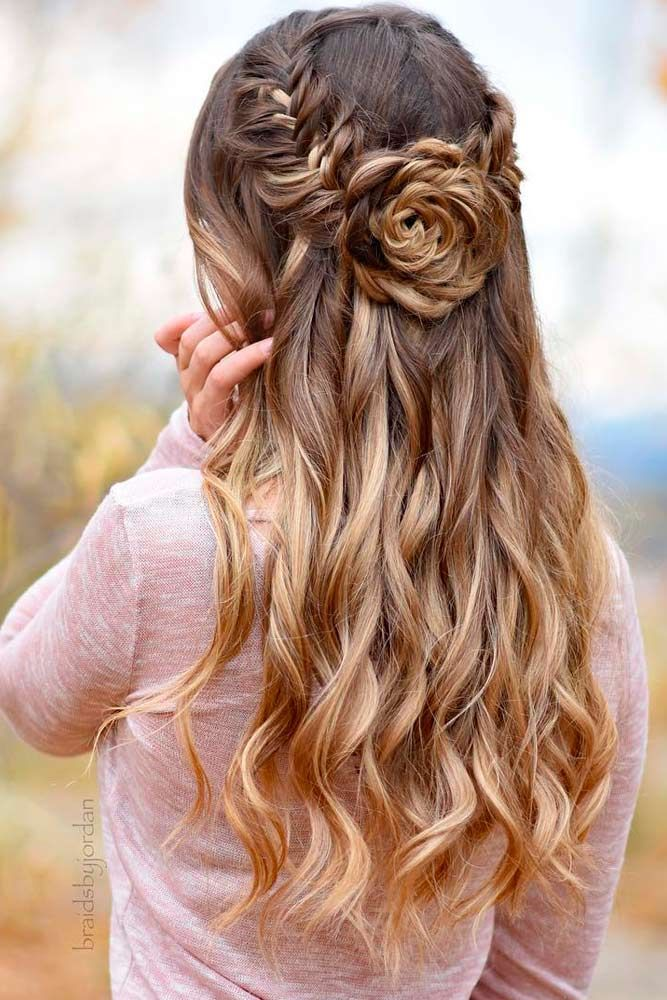 Waterfall-Braids-with-a-Rose 25 Prom Hairstyles 2020 for an Exquisite Look