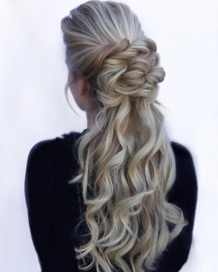 half-up-half-down-updo 20 Eye-catching Updo Hairstyles To Make Your Day