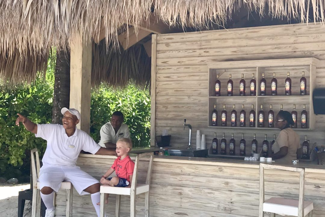 Enjoying the great service at the VIP beach bar for guests of The Reserve at Paradisus Punta Cana.