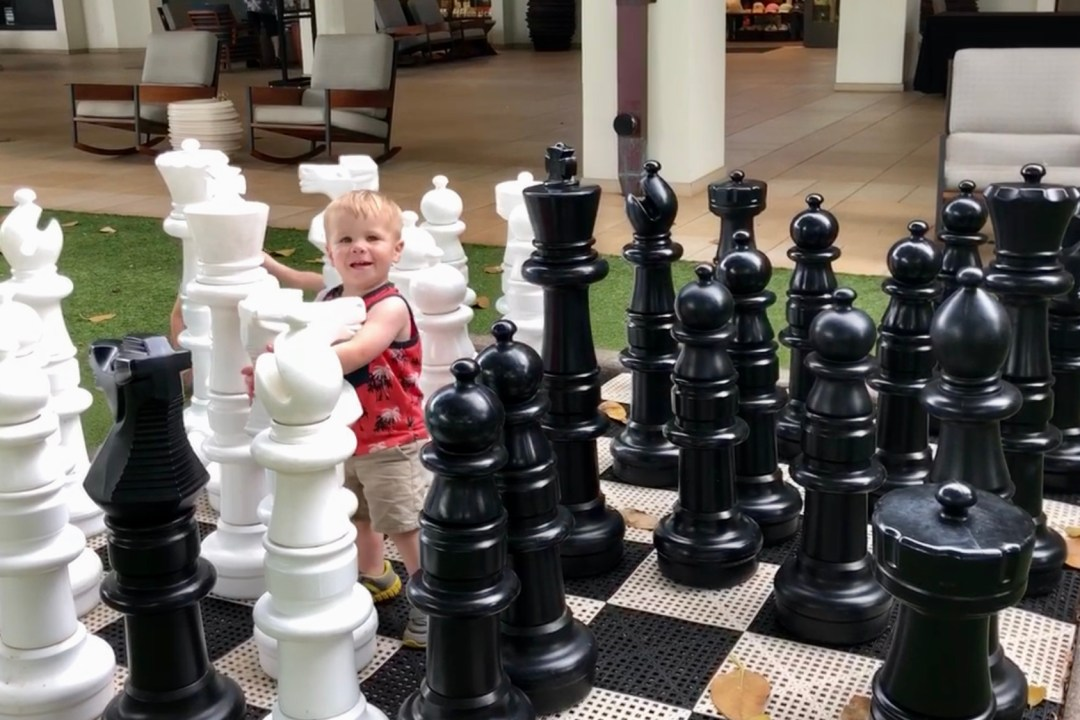 Giant chess board at the Wailea Beach Resort by Marriott