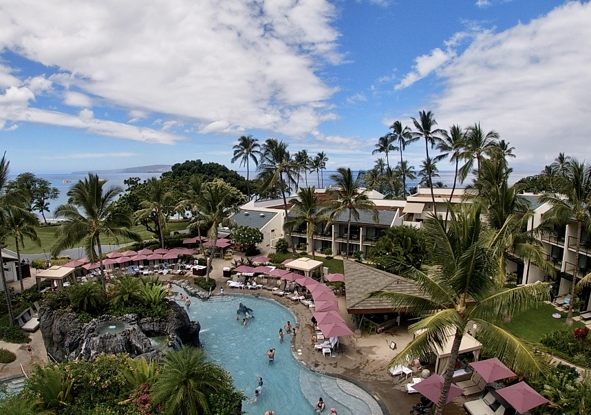 Waterslide view of the Nalu Adventure Pool at Wailea Beach Resort by Marriott