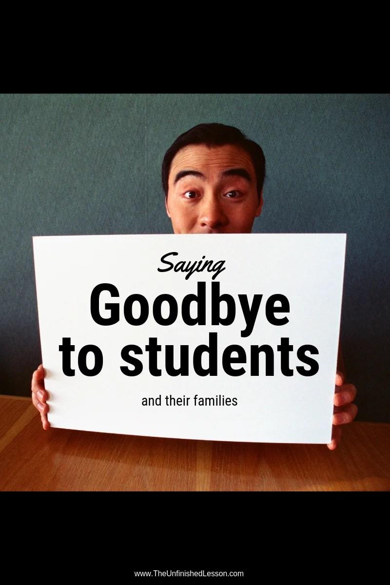 Saying goodbye to students