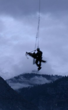 Jack hanging from side of my gurney 100ft below rescue helicopter