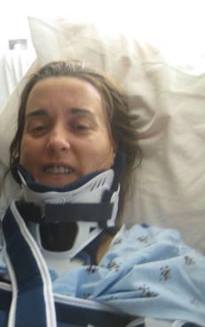 2009- 'Not all there' Gina, smiling despite bleeding/swollen brain, broken jaw, skull, collar bone, rib, spine & sacrum... Wow.