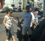 Paul helping me mauever a curb.