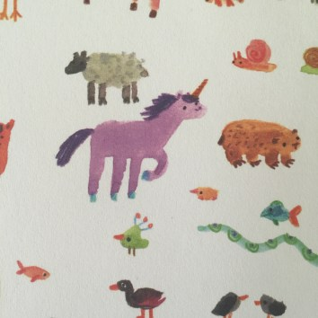 On the wrapping paper I got it has a unicorn on it, so cute!