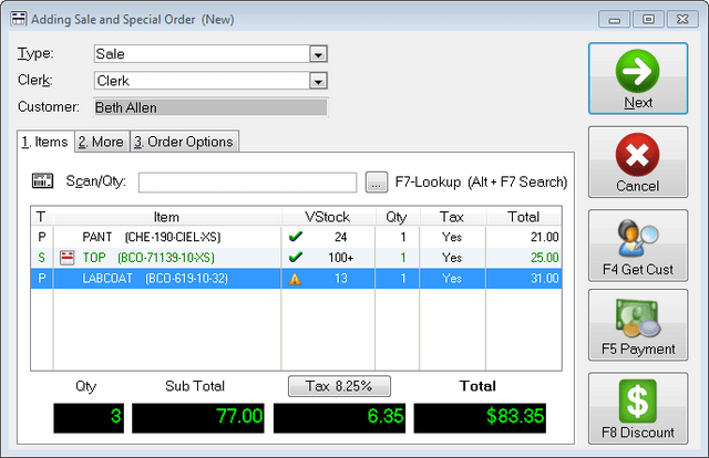 The Uniform Solution Simple POS screen