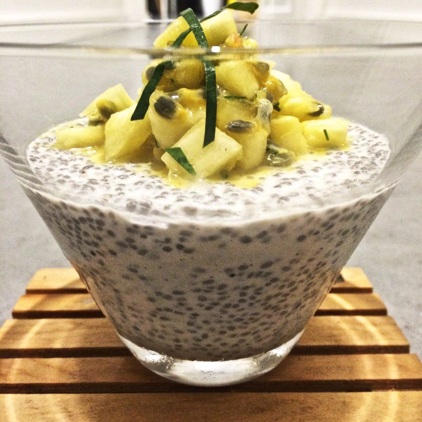 lime infused chia pudding with pineapple and passionfruit topping