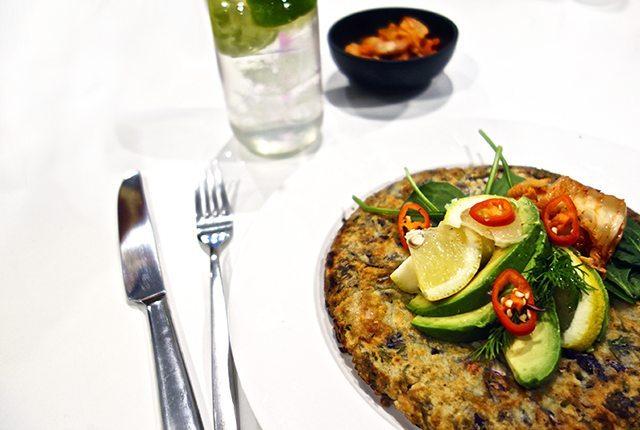 gluten free okonomiyaki with prawn dill ginger and chilli