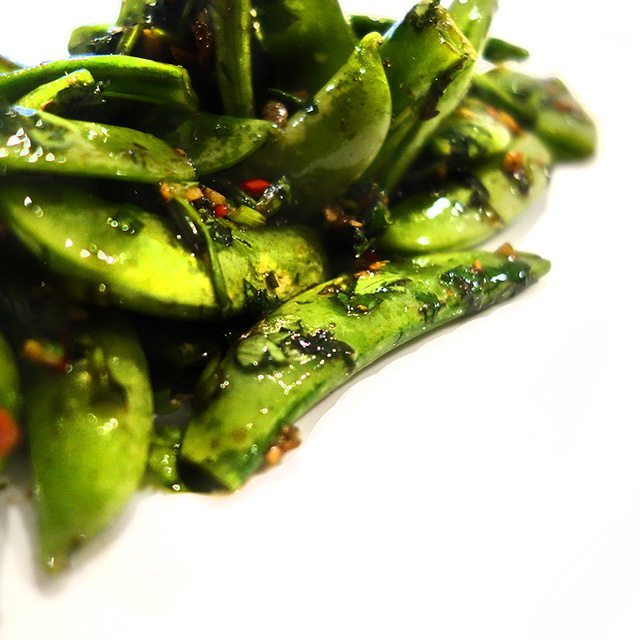 sides in five minute magic beans raw ginger chilli sugar snap peas