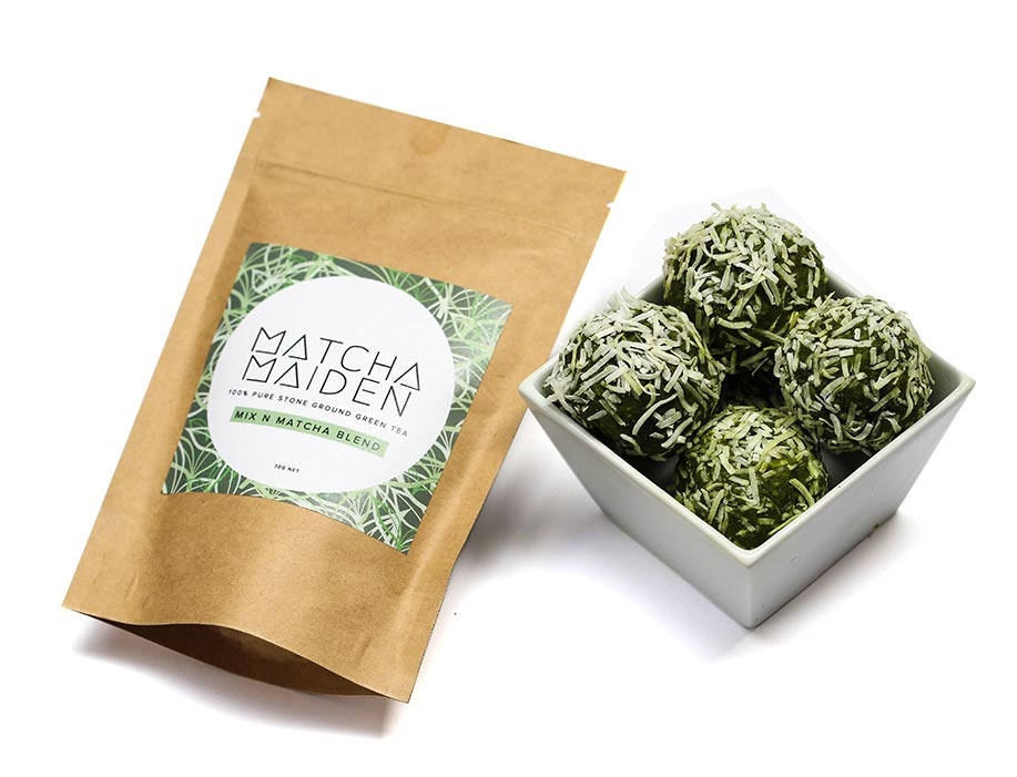 matcha maiden raw bliss protein balls