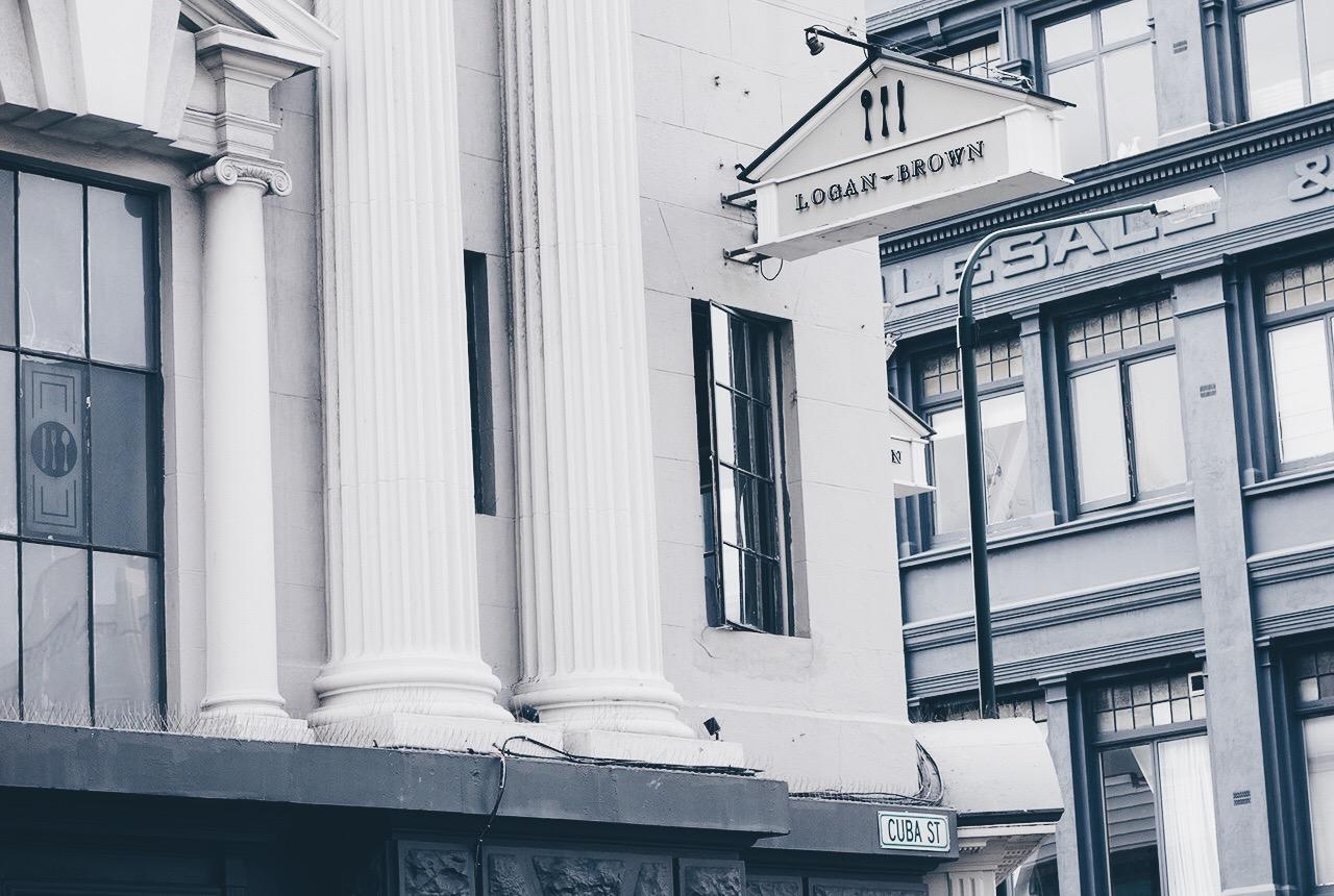 Logan Brown Wellington New Zealands Best Restaurant Bistro Menu Sign and Frontage